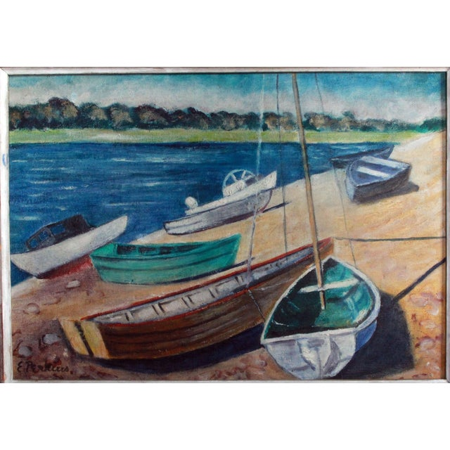 Vintage Impressionist Oil Painting of Sailboats on Kennebunk Maine Beach - Image 4 of 5