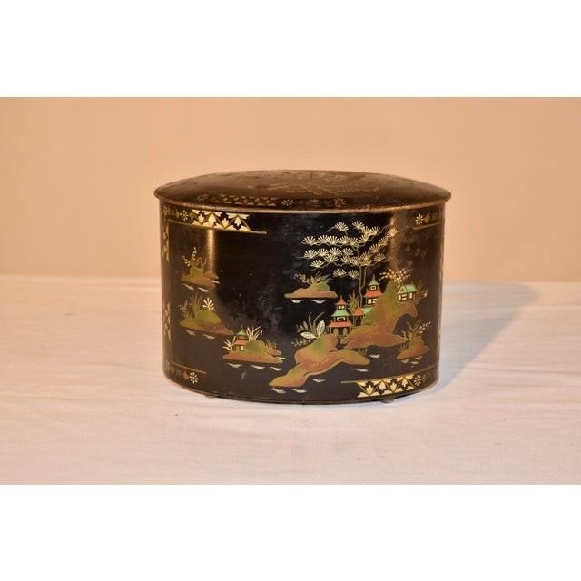 Late 19th C Chinoiserie Tea Tin For Sale - Image 4 of 8