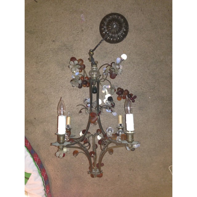 Antique Brass Finish Chandelier with Glass Grapes - Image 2 of 5