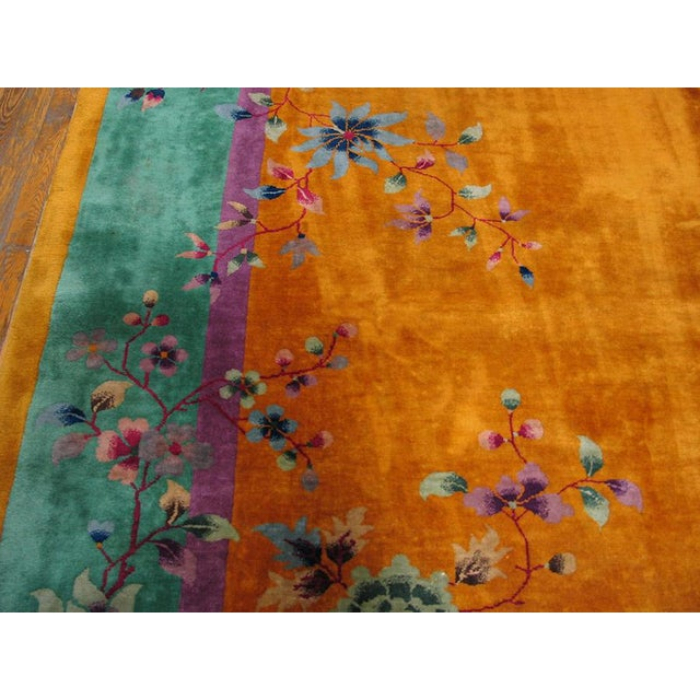 "1930s Antique Chinese Art Deco Rug- 9'0"" X 11'0"" For Sale - Image 4 of 5"
