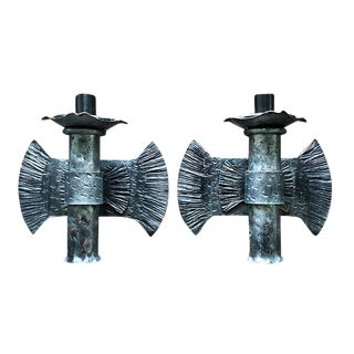 Pair of Textured Hard Wired Metal Fan Brutalist Italian Burst Flame Iron Sconces With Etchings For Sale