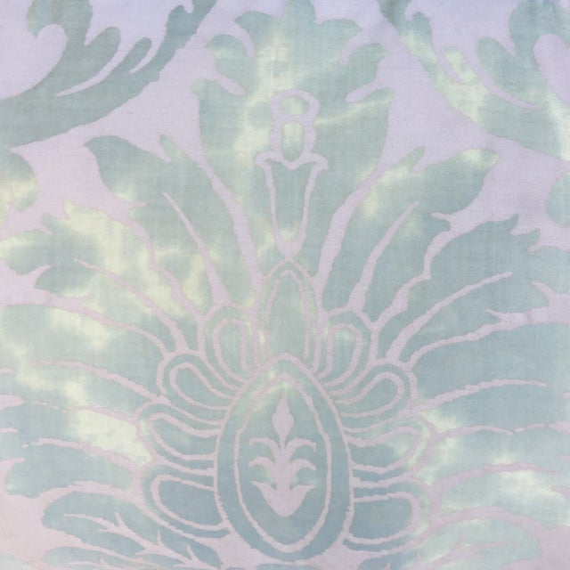 Traditional Sea Foam Green & Cream Fortuny Pillow For Sale - Image 3 of 5