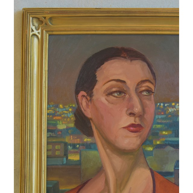 """Americana Artist Tony Peters Female Portrait """"Off Broadway"""" Framed Oil Painting For Sale - Image 3 of 9"""