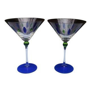 Hand Painted Martini Glasses - A Pair
