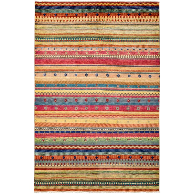 """Lori, Hand Knotted Area Rug - 6'1"""" X 9'2"""" For Sale"""