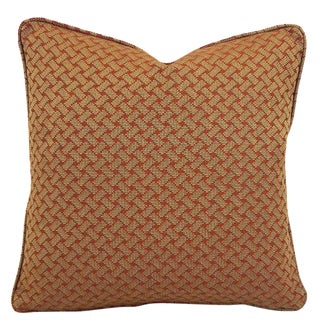 F. Schumacher Bristol Weave in the Color Pomegranate With Self-Welt Pillow Cover For Sale