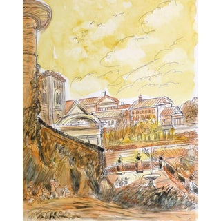 Vintage Italian Watercolor and Ink - Outskirts of Italian Village For Sale