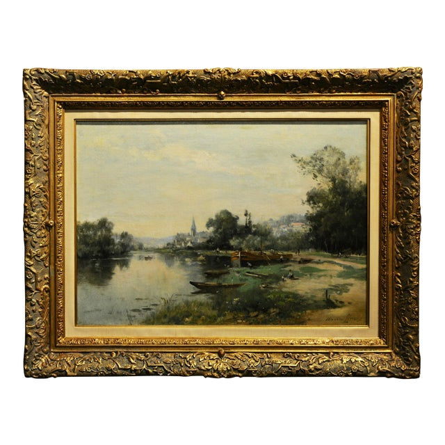 Maurice Levis -Picturesque French River Scene -19th Century Oil Painting For Sale