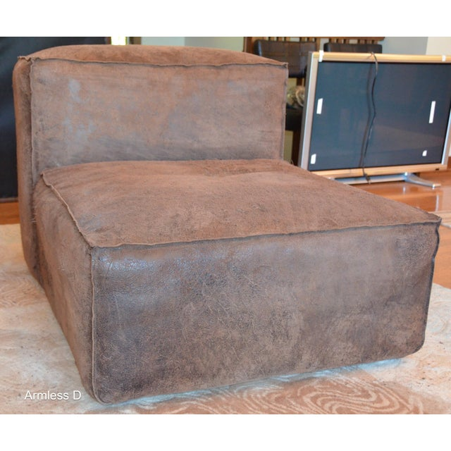 Modern Restoration Hardware Distressed Leather Sectional with Left Chaise + One Armchair For Sale - Image 10 of 12