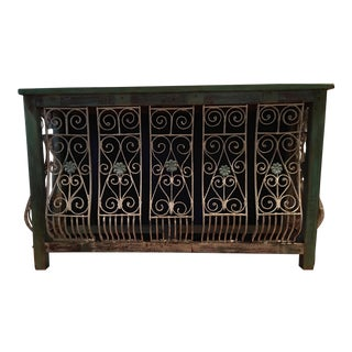 1900s Shabby Chic Iron Wood Console For Sale