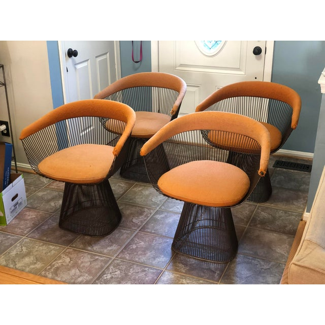 Knoll 1960s Warren Platner for Knoll Mid-Century Modern Wire Dining Chairs -Set of 4 For Sale - Image 4 of 6