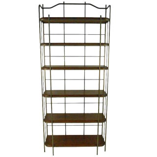 Vintage Wood Amd Bronze Shelving Unit