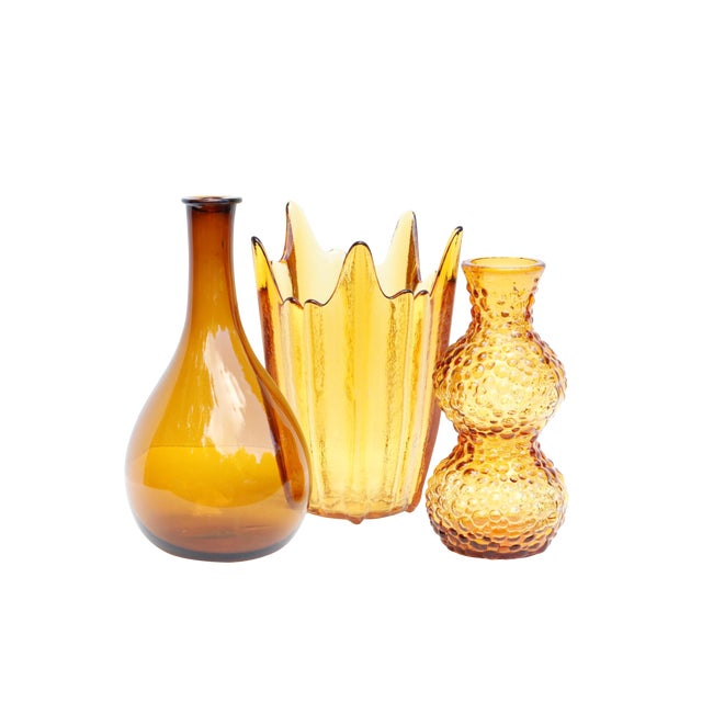 Amber Glass Vases, Set of 3 For Sale