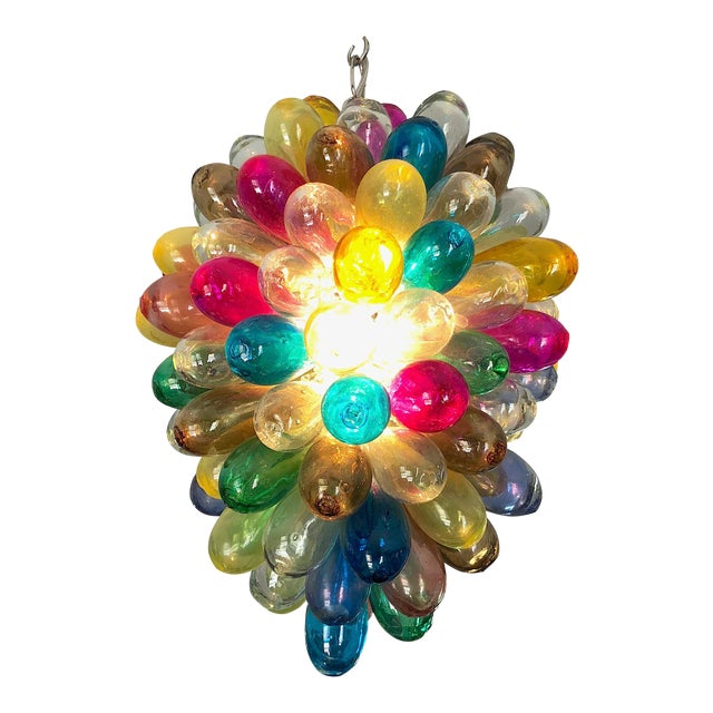 Light Fixture of Stained Hand Blown Glass For Sale