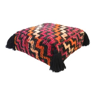 Vintage Moroccan Square Floor Pouf For Sale