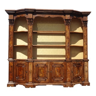 Large Antique 19th Century French Country Burl Wood Hutch China Cabinet ~ Buffet For Sale