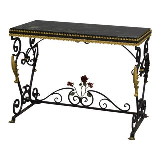 19th Century Victorian Wrought Iron Console Table For Sale