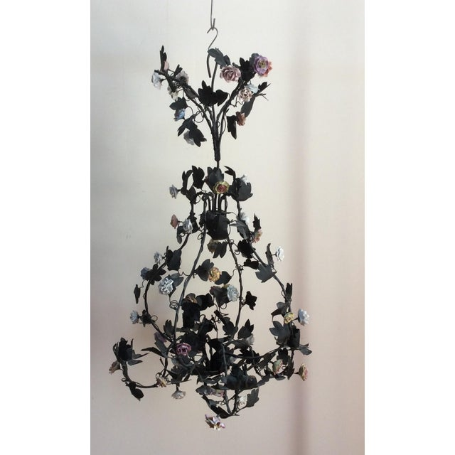 Tole & Porcelain Flower Candle Chandelier - Image 8 of 10