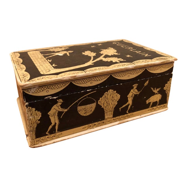Vintage Mid-Century Hinged Guerlain Box For Sale