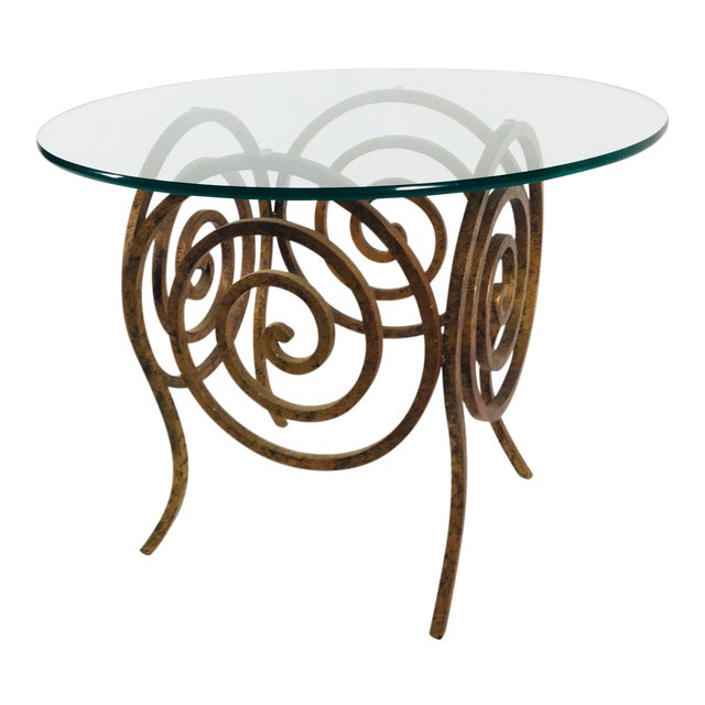 Scroll Wrought Iron & Glass Coffee Table For Sale