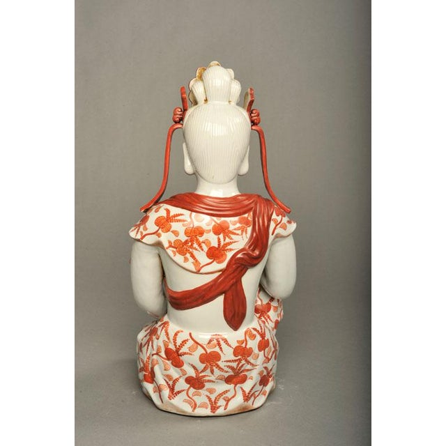 Japanese Hand-Painted Porcelain Bodhisattva Sculpture - Image 3 of 8