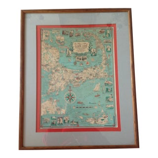 1990s Pilgrimi Framed Map of Cape Cod For Sale