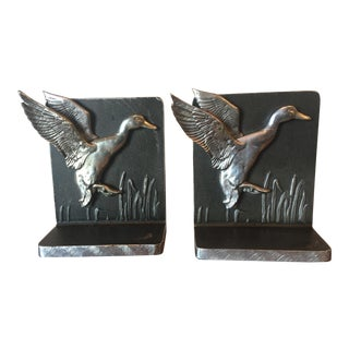 Bruce Fox Mid Century Wrought Metal Flying Mallard Bookends - a Pair For Sale