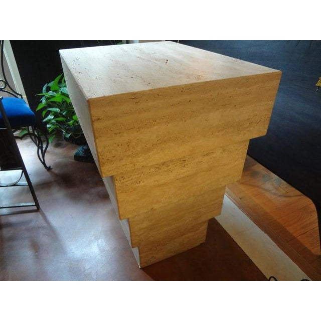 Italian Stepped Travertine Pedestal or Table Base For Sale In Houston - Image 6 of 10