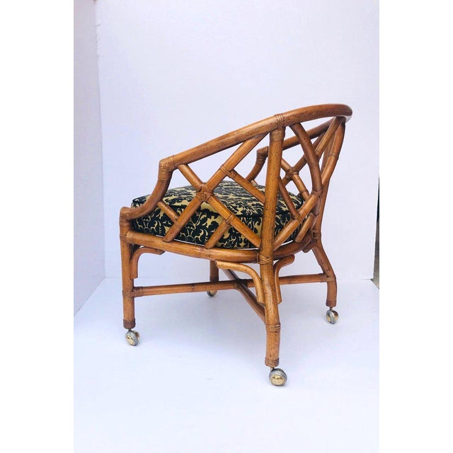 1970's Bamboo and Rattan Chippendale Swivel Desk Chair For Sale - Image 13 of 13