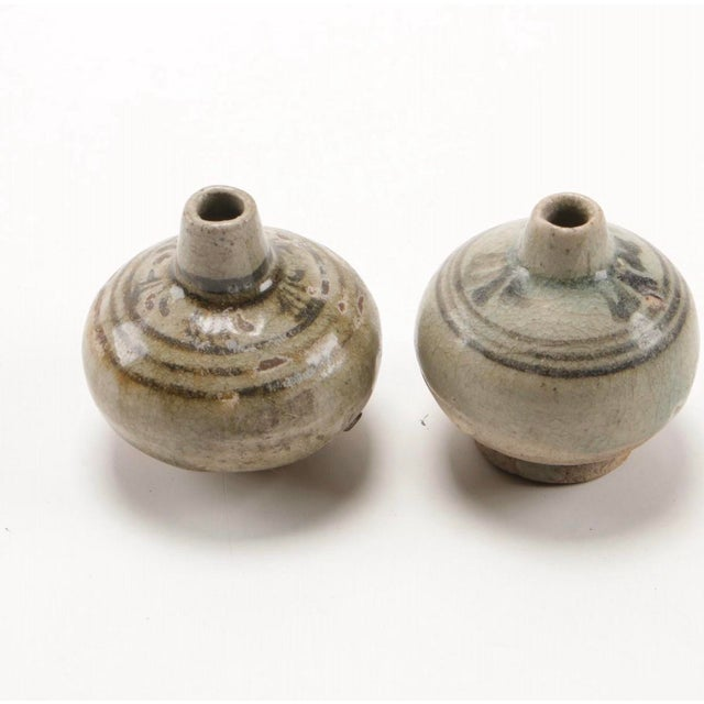 Asian Antique Antique Thai Stoneware Vases - Set of 3 For Sale - Image 3 of 8