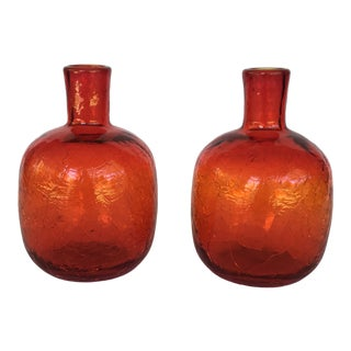 Blenko Orange Crackle Glass Vases - a Pair For Sale