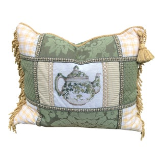 Needlepoint English Teacup Accent Pillow For Sale