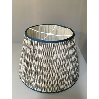 Penny Morrison Grey-White Ikat With Atlantic Trim Lamp Shade Preview