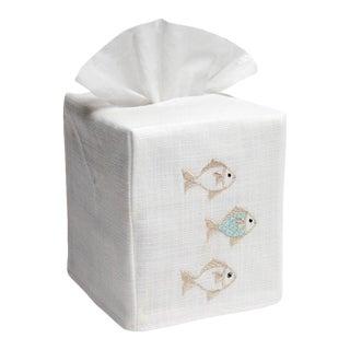 Aqua/Beige School of Fish Tissue Box Cover in White Linen & Cotton, Embroidered For Sale