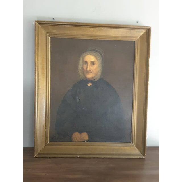 Black Antique Gothic Maiden Portrait Oil Painting For Sale - Image 8 of 8