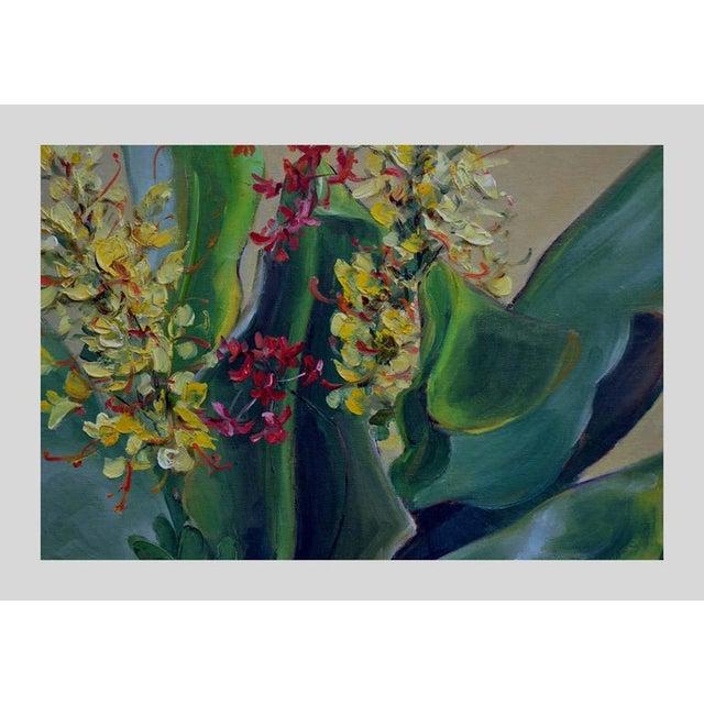 Gorgeous still life of a tropical bonsai flower arrangement by Helen Gleiforst (American, 1903-1997), circa 1950. Signed...