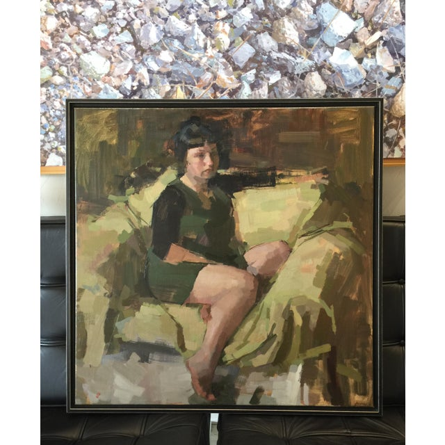 This portrait is framed in a simple black floater frame. Frame size is 31.5 x 31.5 in. Actual painting size is 30 x 30 in....