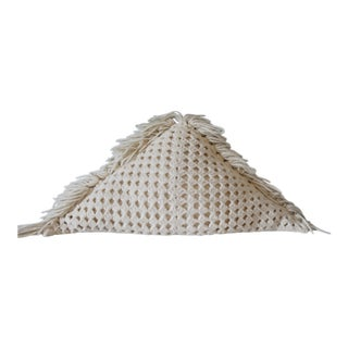 Vintage Crochet Knit Triangle Pillow With Fringe Handmade 1970s Boho For Sale