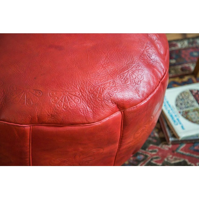 Antique Revival Cranberry Red Leather Pouf Ottoman - Image 4 of 8