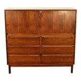 Image of Vintage Danish Rosewood Locking Secretary Desk 6-Drawer Dresser For Sale