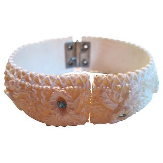 1960s Carved Ivory & Blue Rhinestone Bracelet