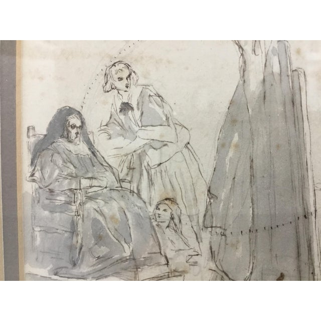 Wood Original Pen and Ink Study Drawing by Sir John Gilbert For Sale - Image 7 of 11