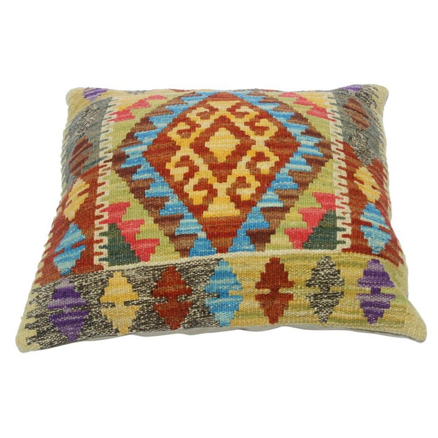 "Asian Clemente Gold/Lt. Blue Hand-Woven Kilim Throw Pillow(18""x18"") For Sale - Image 3 of 6"