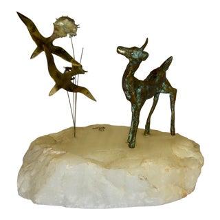 Ross Brutalist Bronze Deer Fawn Figurine For Sale