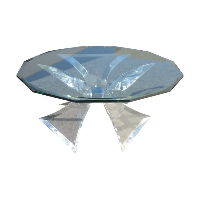 Lion in Frost Triple Butterfly Lucite Coffee Table For Sale