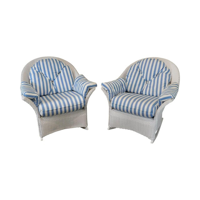 LLoyd Flanders White Wicker Pair Patio Porch Rockers For Sale - Image 13 of 13