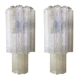 Italian Murano Glass Tubes Sconces - a Pair For Sale