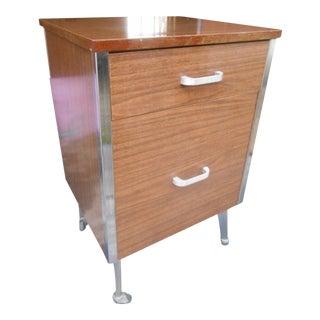 Vintage Mid-Century Modern Formica & Chrome Medical Rolling Cabinet For Sale