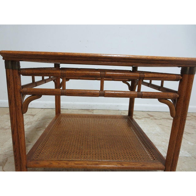Brown Vintage Mid-Century Campaign Faux Bamboo Carved End Table For Sale - Image 8 of 11
