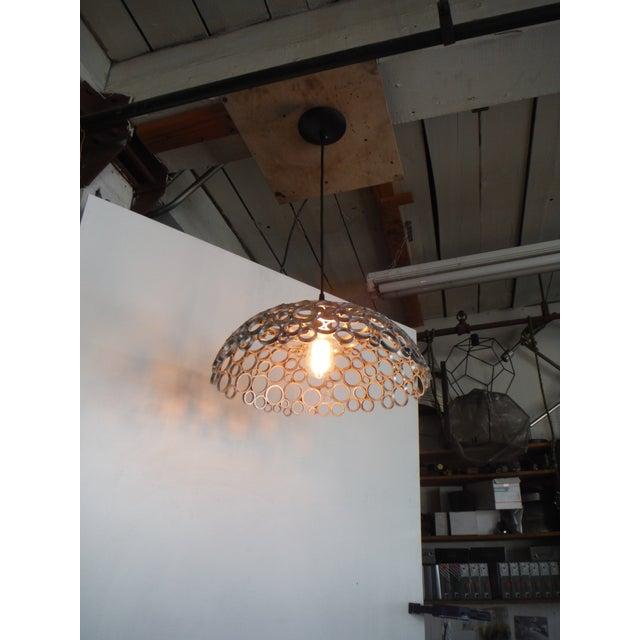 Modern Tiffany Aluminum Pendant Light For Sale - Image 3 of 4